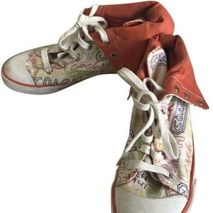COACH High Top Sneaker-White-Size US 8.5